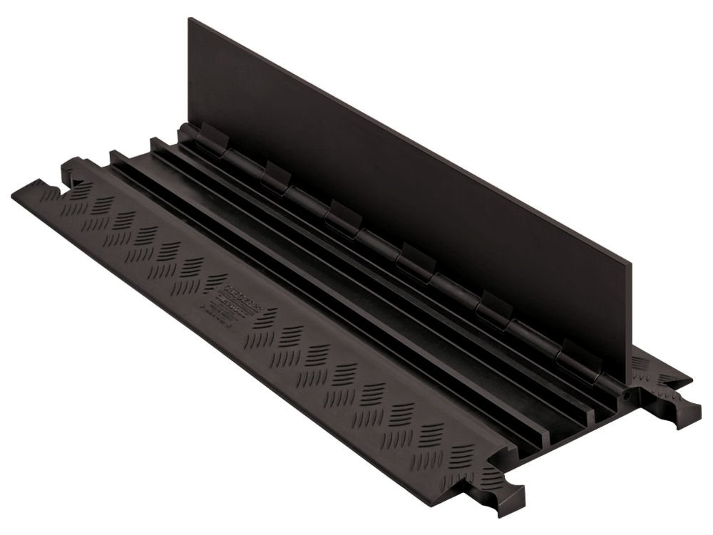 Guard Dog GD3X75-ST-B/B Polyurethane Heavy Duty 3 Channel Low Profile Cable Protector with  Standard Ramp, Black Lid with Black Ramp, 36'' Length, 13.8'' Width, 1.25'' Height