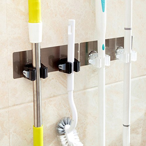 Huluwa Mop and Broom Holder, Wall Mounted Mop Broom Organizer, Self Adhesive Wall Mounted Mop Hooks Broom Hanger Holder, Double Holders, White