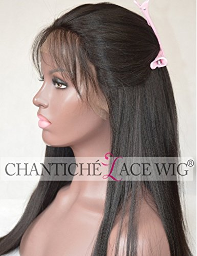 Indian Hair Wigs (Chantiche Light Yaki Straight Silk Top Lace Front Wig For African Americans Indian Remy Human Hair Full Wigs With Baby Hair 150% Density Medium Brown Lace 18 Inch #1B)