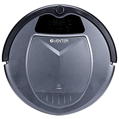 Eventer Vacuum Robot Cleaner with Strong Suction and Slim Design for Hard Floor and Thin Carpet, Pet Hair-Black