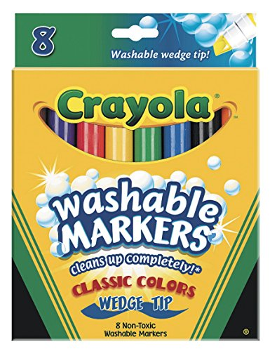 - Crayola Binney & Smith (R) Washable Wedge Tip Markers, Assorted Colors, Box Of 8