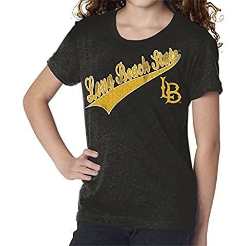 NCAA Long Beach State 49Ers Youth Girls Tee, X-Large, Steel Black - Beach Apparel