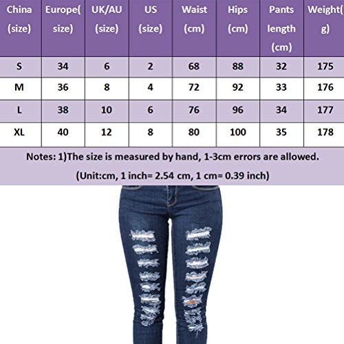 Pants Donna Jeans Denim Trousers Cotton Blue Fashion Zhhlaixing Holes Slim Ladies Stretch 0wqZnOd