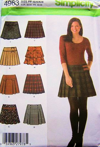 Simplicity 4963 Misses Mini Skirts Sewing Pattern Size 12 To 18