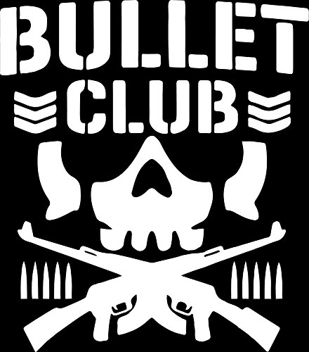 ANGDEST BULLET CLUB LOGO (WHITE) (set of 2) Premium Waterproof Vinyl Decal Stickers for Laptop Phone Accessory Helmet Car Window Bumper Mug Tuber Cup Door Wall (Club Decal)