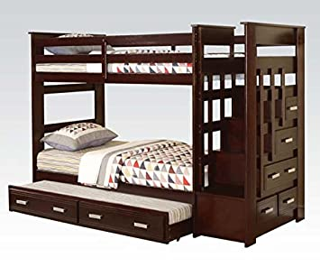 Amazon Com Acme Furniture Youth Bedroom Twin Twin Bunk Bed 10170w