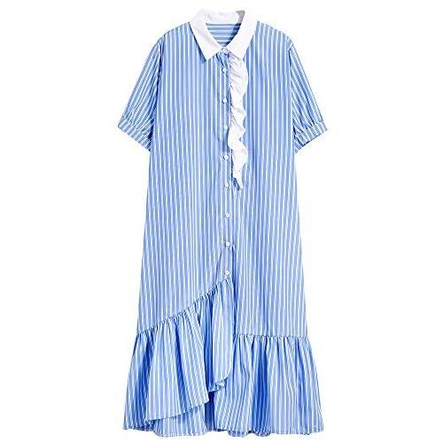 Xmy Long, T-shirt fille dans les feuilles de lotus irrégulières du genou jupe edge manches courtes T-shirt robe rayures verticales pour Summer of Code