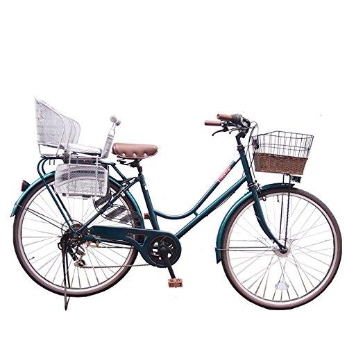 Lupinusルピナス 自転車 26インチ LP-266HA-knr-s シティサイクル LEDオートライト SHIMANO製6段ギア 後子乗せシルバー B073LW17ZY グリーン グリーン