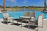 Stellahome Wicker Patio Furniture Outdoor Conversation Sets 4 Piece Cushioned Chairs Table Bistro Set for Porch, Poolside or Balcony