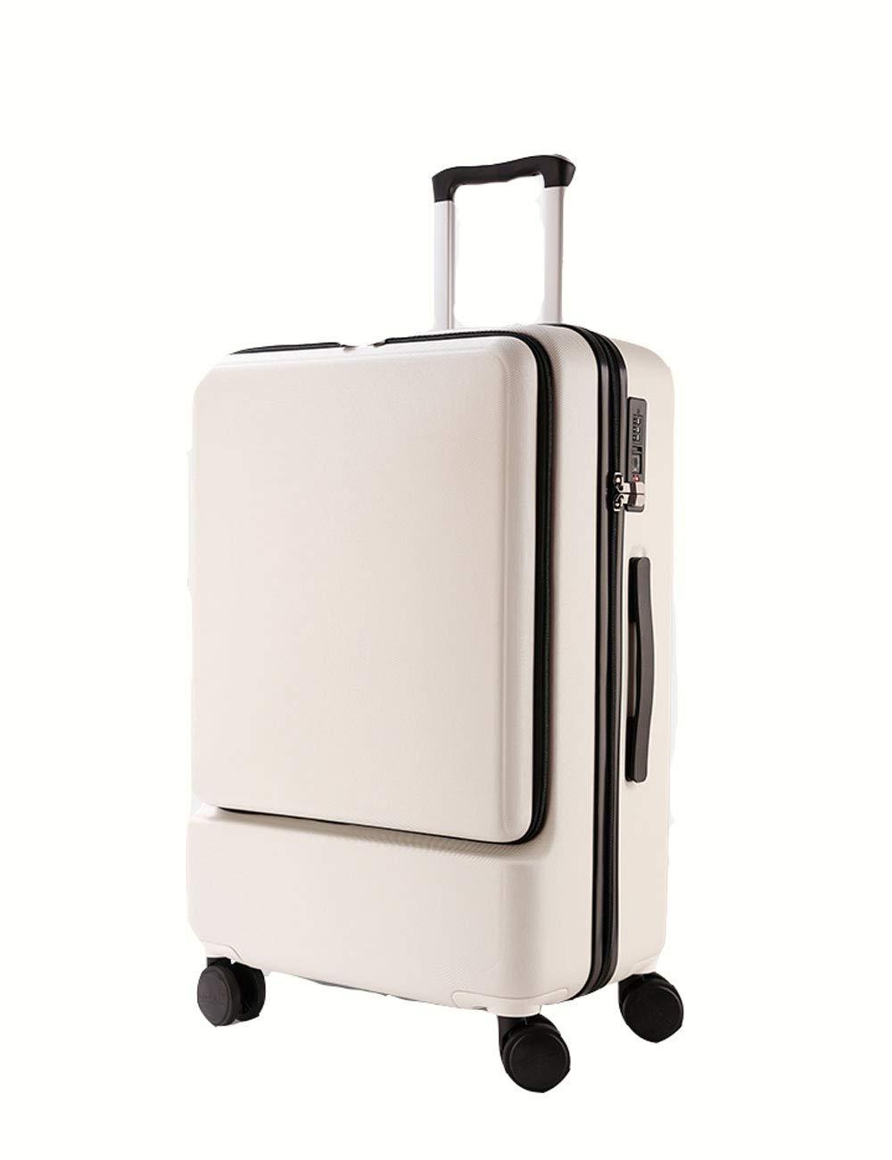 ビジネスABSハード4輪の荷物、フロントコンピュータバッグのデザイン、衝撃吸収ホイールスーツケース、白20インチ/ 24インチ (色 : 43 * 26 * 66cm)   B07GGRG3FG