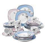 VEWEET 30-Piece Ceramic Dinnerware Set Ivory White Dinner Plate, Salad Plate, Soup Plate, Mug, Service for 6 – Blue & Pink (Debbie Series) Review