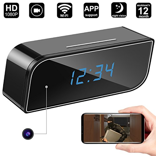 ra Clock,DigiHero WiFi Camera Alarm Clock,Nanny Cam with Night Vision,Motion Alert Notification on IOS/Android Phone/Tablets (Support 128G SD Card) A (Desk Clock Camera)