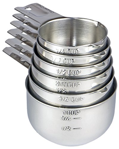 Cougar Chef 6 Piece Stainless Steel Measuring Cup Set - Stackable Measuring Set for Accurate Measuring of Dry and Liquid Ingredients for Cooking and Baking