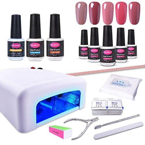 CLAVUZ Gel Nail Polish Kit with UV Light 15PCS Soak Off Nail
