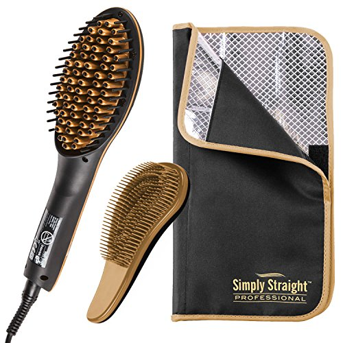 Genius Simply Straight - Cepillo alisador profesional de cerámica   3 piezas   Plancha de pelo 2 en 1   Incluye bolsa resistente al calor y cepillo para desenredar   Para todos los tipos de cabello
