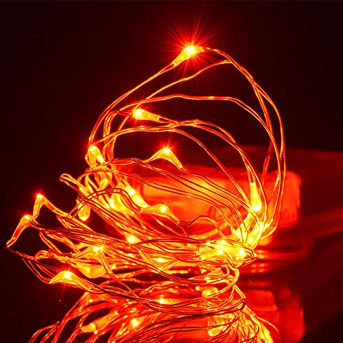 FUNPRT Halloween Decorative Orange Lights, Orange LED Copper String Lights for Halloween Themed Party Decorations Outdoor, 30 LED Bulbs and Battery Operated, 10Feet/3M -