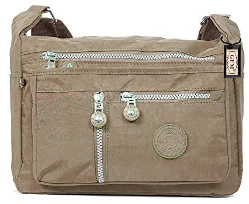 Bag 25 Bag Body Shoulder Pockets Lightweight Cross Womens Bag Khaki Zip Nylon GFM kh S4 Multi Messenger A8v0qw6