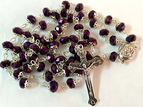 Purple Glass Crystal Beads Rosary Necklace Holy Soil Medal Silver Plated New in Box by Bethlehem Gifts TM