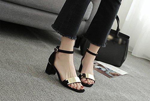 Verano Sandalias Zapatos de Tacó Correa de Tobillo Elegantes y Acogedor Sandalias de Gruesos Negro