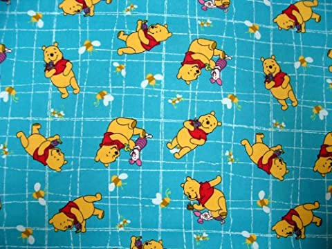 SheetWorld Fitted Crib / Toddler Sheet - Pooh Blue Grid - Made In USA