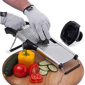 [Upgraded] Mandoline Slicer + FREE Cut-Resistant Gloves and Blade Guard – Adjustable Mandolin Vegetable Slicer and French Fry Cutter, Food Slicer, Vegetable Julienne – Premium Stainless Steel Design