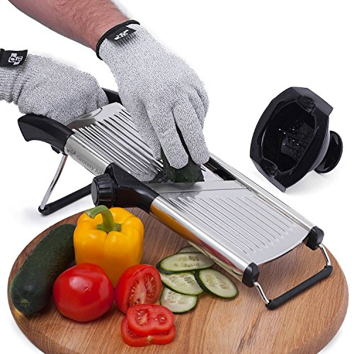 [Upgraded] Mandoline Slicer + FREE Cut-Resistant Gloves and Blade Guard  Adjustable Mandolin Vegetable Slicer and French Fry Cutter, Food Slicer, Vegetable Julienne  Premium Stainless Steel