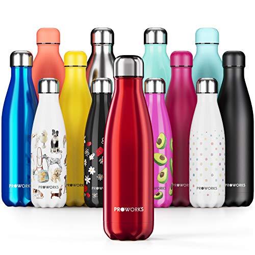 Proworks Botellas de Agua Deportiva de Acero Inoxidable | Cantimplora Termo con Doble Aislamiento para 12 Horas de Bebida Caliente y 24 Horas de Bebida Fria - Libre de BPA - 1L - Rojo Metalizado