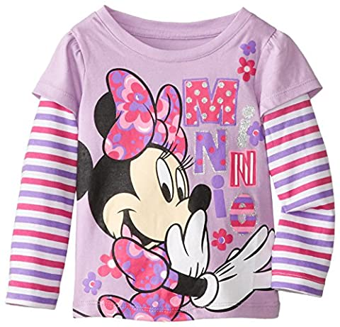 Disney Little Girls' Minnie Mouse Stripe Long Sleeve T-Shirt, Lovely Purple, 6X - Toddler Purple Character T-shirt