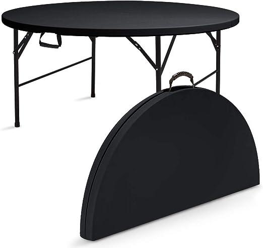Rekkem Table Pliante Ronde 8 Personnes Noire Amazon Fr Jardin