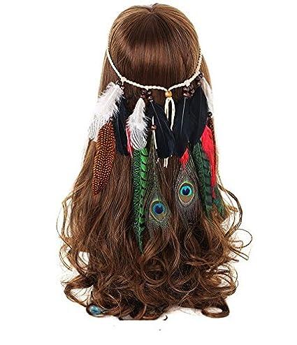 Cinta hippie para pelo diadema de plumas alegres tonos pavo real bolas de madera multicolor atrezzo