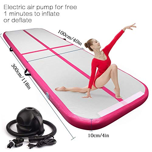 FBSPORT 9.84ft air Track Tumbling mat Inflatable Gymnastics airtrack with Electric Air Pump for Practice Gymnastics, Tumbling,Parkour, Home Floor and Martial Arts