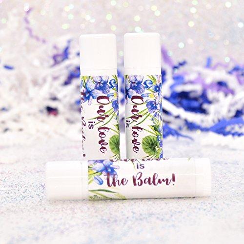 30 Violet Floral Party Favor Labels, Our Love is Balm Stickers, Floral Lip Balm Labels ()