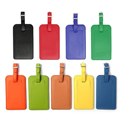 uxcell Travel Luggage Tag PU Leather Suitcase Baggage Bag Name Address ID Label, Set of 2