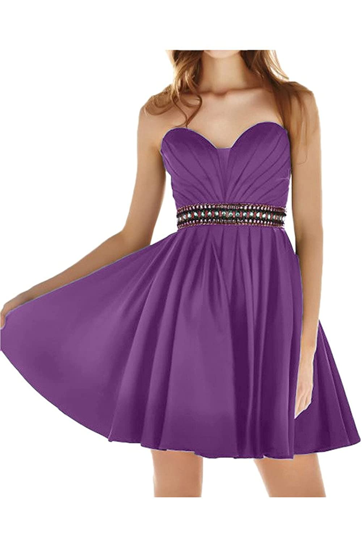 MissDressy Mini A-line Sweetheart Crystal Prom Cocktail Sixteen Graduation Dress