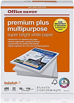 Office Depot Premium Plus Multipurpose Paper, Copy Fax Laser & Inkjet Printer, 8 1/2 x 11 inch Letter Size, Heavier 22 lb. Density, 98 Super Bright White, ColorLok, Acid Free, Single Pack, 400 Total Sheets (679297)