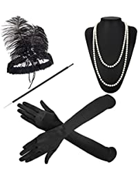 1920s Accessories Headband Earrings Necklace Gloves Cigarette Holder