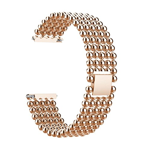 Price comparison product image Outsta for Fitbit Versa Watch Band, Five Beads Round Beads Alloy Watch Band Wrist Strap Bracelet Accessory Wristbands Fashion Smart Watch Band Women Men (Rose Gold)