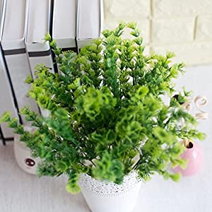 AkoMatial Artificial Fake Flowers, 1 Bouquet Artificial Mimosa Plastic Green Plant Home Office Shop Decorazione - Verde 6