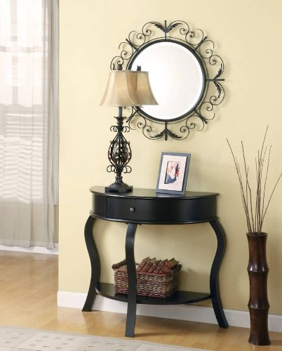 Coaster 3-Piece Table, Mirror and Lamp Set, Black