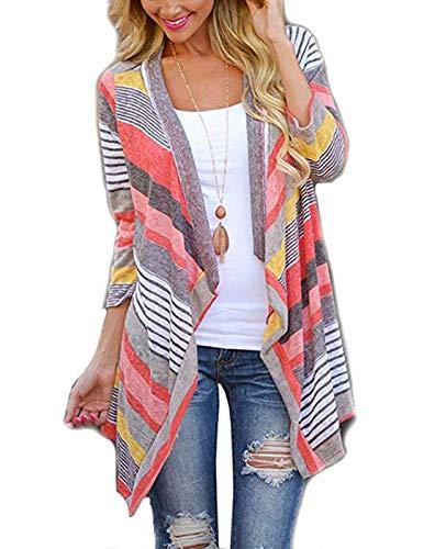 VAYAGER Cardigans Women Boho Irregular Front Hem Fashion Print 3/4 Long Sleeve S-XL