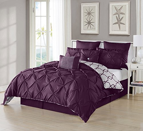 Ruthy's Textile 3 Piece Pintuck Printed Reversible Duvet Cover Set, Duvet Cover with 2 Pillow Shams- Luxurious, Comfortable, Breathable, Soft (King/Cal King, Plum) (Plum Duvet Cover Set)