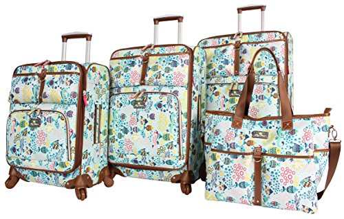 Lily Bloom Luggage Set 4 Piece Suitcase Collection With Spinner Wheels For Woman (Aquarium Life)