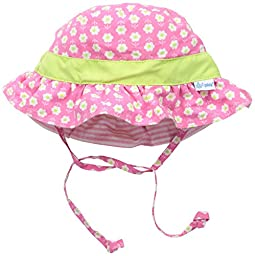 i play. Toddler Girls\' Reversible Ruffle Bucket Sun Protection Hat, Pink, 2T-4T