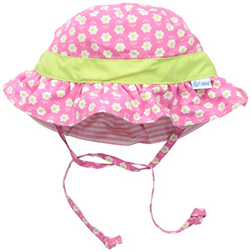 I play. Baby Girls' Reversible Ruffle Bucket Sun Protection Hat, Pink, 9-18 Months
