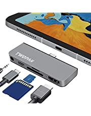 """TWOPAN iPad Pro USB C Hub, 5-in-1 USB C Adapter for iPad Pro 2020/2019/2018, 24"""" iMac 2021, Micro/SD Card Readers, 3.5mm Audio Jack, 4K HDMI Adapter, Space Gray-T7-H5"""