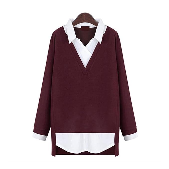 Newbestyle Mujer Camisetas de manga larga 2 en 1 Camiseta Pullover Blusa Contraste Color V-cuello Tops Primavera Otoño: Amazon.es: Ropa y accesorios