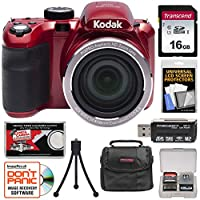 KODAK PIXPRO AZ421 Astro Zoom Digital Camera (Red) with 16GB Card + Case + Flex Tripod + Kit