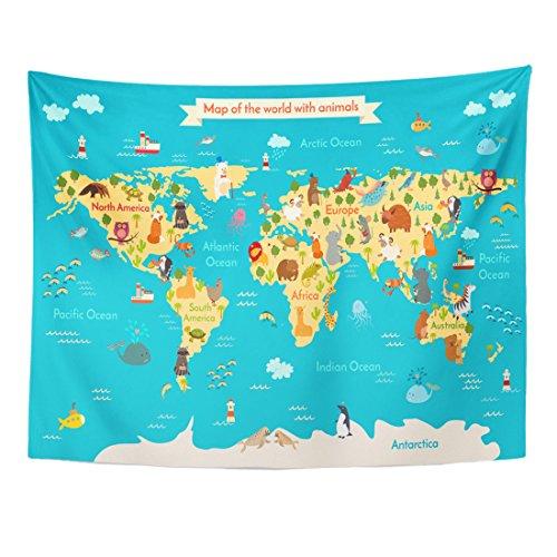 Emvency Tapestry Cute Animals World Map Preschool Baby
