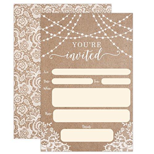 Country Kraft and Lace Invitations, Rustic Elegant invites for Wedding Rehearsal Dinner, Bridal Shower, Engagement, Birthday, Bachelorette Party, Baby Shower, Reception, Anniversary, (Beach Bachelorette Party Invitations)