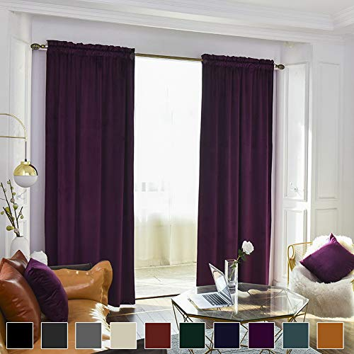 Twin Six Super Soft Blackout Velvet Curtains with 2 Pillow Case,Thermal Insulated Solid Heavy Rod Pocket Window Drapes for Living Room (Plum, 52